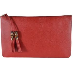 NWT Gucci Red Leather Bamboo Tassel Pouch 449653